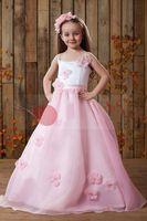 Christmas Pink Organza Straps Wedding Flower Girls' Dresses ...