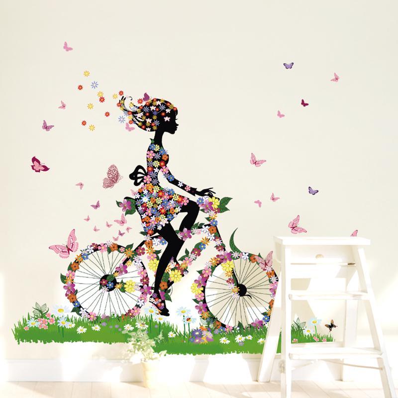 Flower Girl Riding Bike Wall Sticker Bicycling Flower Girl ...
