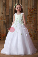 Christmas Green White Applique Wedding Flower Girls' Dresses...