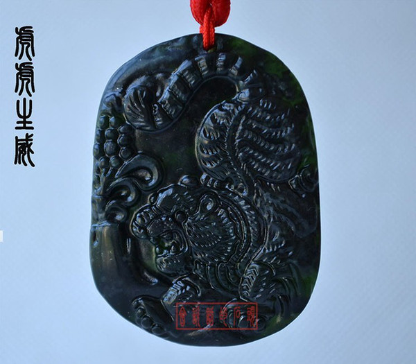 Hand carved natural jade peace buckle black jade tiger amulet hand carved natural jade peace buckle black jade tiger amulet pendant necklace brand 01 mozeypictures Gallery