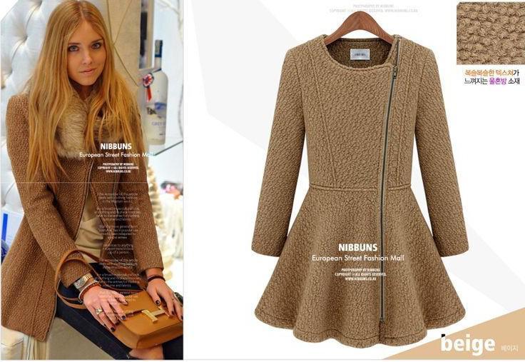 New Autumn Women Fashion Side Zipper Woolen Coats Winter Ladies Girls Round-Neck Skirts Style Overcoats Slim Surcoats