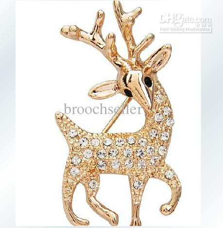 Gold Plated Clear Rhinestone Crystal Christmas Reindeer Brooch Pin Gift