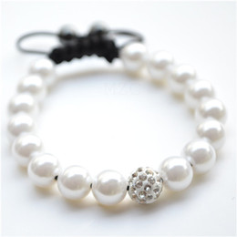Wholesale Cz Pearl - Free shipping! new style White Pearl Micro Pave CZ Disco10mm Ball Bead High Quality Micro Pave Crystal Shamballa Bracelet women jewelry