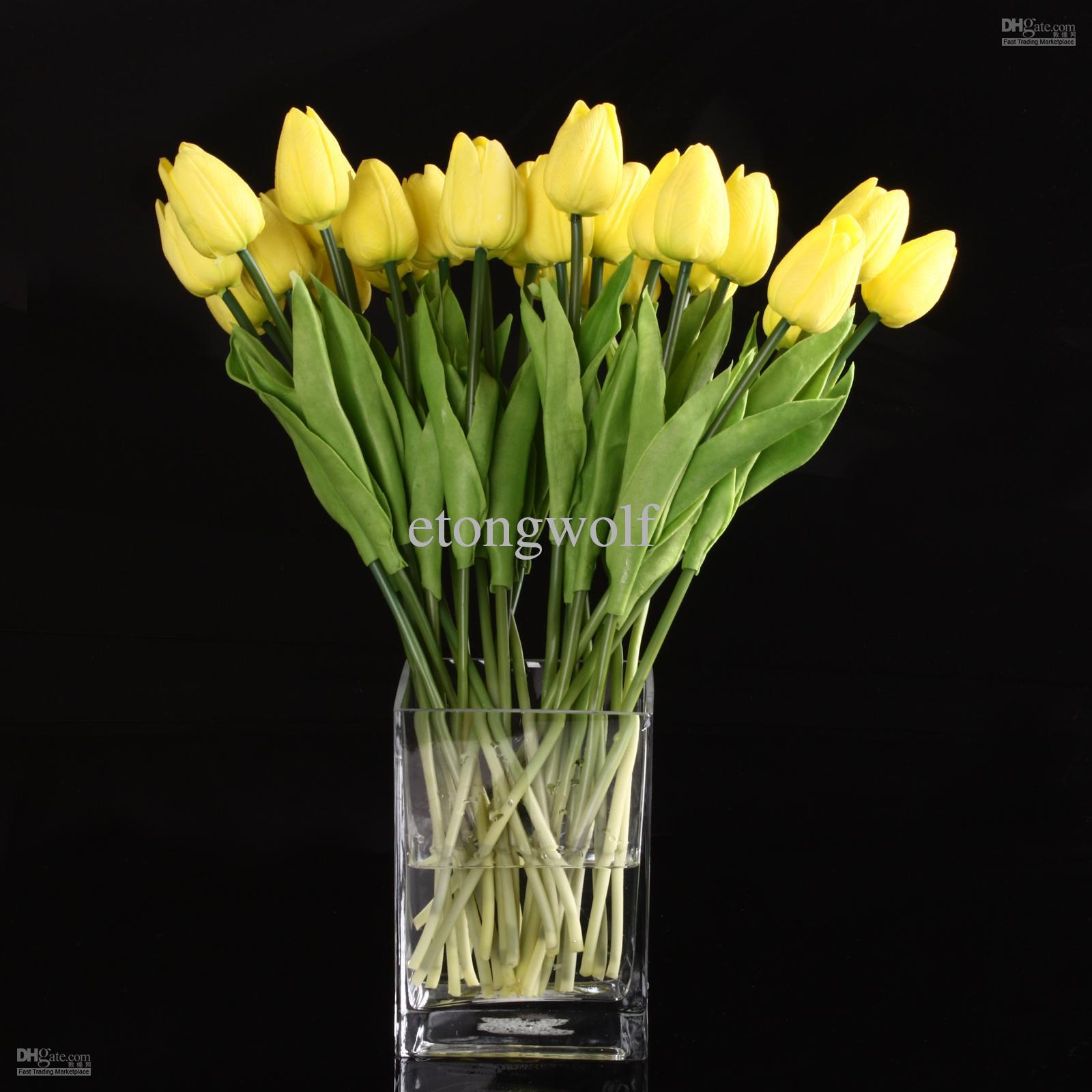 Wholesale Yellow Color Tulip Flower Latex Real Touch For Wedding ...
