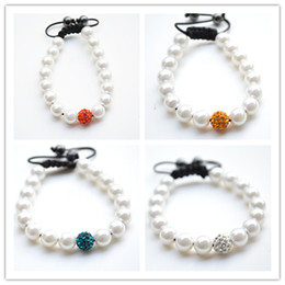 Wholesale Crystal Ball Cz Quality - best! 4 Mixed Color White Pearl Micro Pave CZ Disco10mm Ball Bead High Quality Micro Pave Crystal Shamballa Bracelet women jewelry hotsale