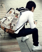 Wholesale Paper News - New vintage news paper print pu leather patchwork fashion backpack, schoolbag