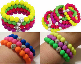 Wholesale Shamballa Bead Clay - Neon Bling Crystal Stretch Bracelet Shamballa Clay Spacer Rubber Beaded Elastic Bracelets with Iridescent Beads Mix Colors 36pcs lot