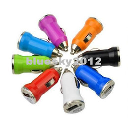 Wholesale Iphone4 Chargers - Bullet Mini USB Car Charger Universal for PDA MP3 MP4 Cell Phone Iphone4 iphone5