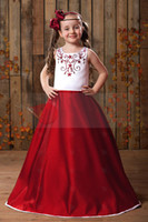 Christmas White& Red Satin Jewel Wedding Flower Girls' Dr...