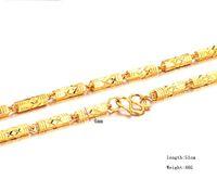 gold quadrat link kette großhandel-100% 18K GELB GOLD GEFÜLLT SQUARE LINK KETTE HALSKETTE Figaro Kette