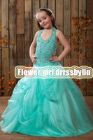 Christmas Green Organza Halter Bead Wedding Flower Girls' Dr...