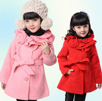 Wholesale Girls Long Down Winter Jacket - Wholesale -New! Autumn winter children's outwear children's coat girl coat flower jacket pink red 4p l