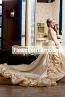 Christmas Champagne Taffeta Flowers Wedding Flower Girls' Dr...