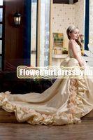 Christmas Champagne Taffeta Flowers Wedding Flower Girls' Dr...