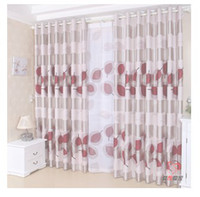 Wholesale fashion bedroom balcony Pleated Ready made curtain light proof Red leaves print blackout panels eyelet hooks style