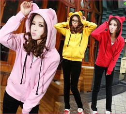Wholesale Cat Cardigans - Korean Fashion New Women Spring Cat Stylished Cute Ear Fleece Thick Warm Hoodie