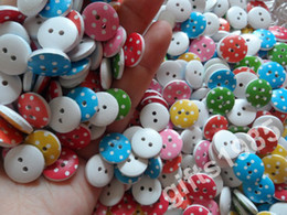 13mm Buttons Canada - Wholesale Printed flat 2 holes wooden 13mm buttons clothing buttons Children DIY tool Color buttons 10 packs or more DHL free