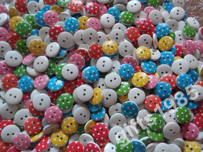 Groothandel Gedrukt plat 2 gaten Houten 13mm Knoppen Kleding Knoppen Kinderen DIY Tool Kleur Knoppen 10 Packs of meer DHL GRATIS