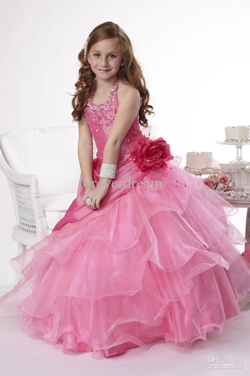 Compre Lovely Pink Halter Taffeta / Organza Beads Vestidos De Niña ...