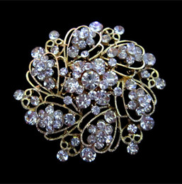 Wholesale Prom Flower Bouquets - 2.2 Inch Glass Rhinestone Crystal Diamante Bouquet Flower Wedding Cake Brooch Prom Party Gift Pins
