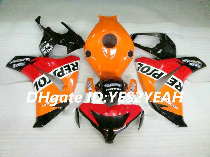Kit carénage de moto pour Honda CBR1000RR 08 09 10 11 CBR 1000RR 2008 2009 2011 CBR1000 ABS Kit carénages orange rouge + Cadeaux HM21