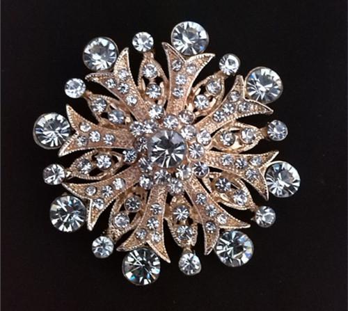 Broche cristalino de la invitación de la boda de la flor de Diamante del Rhinestone de la mirada de la vendimia de 2 pulgadas
