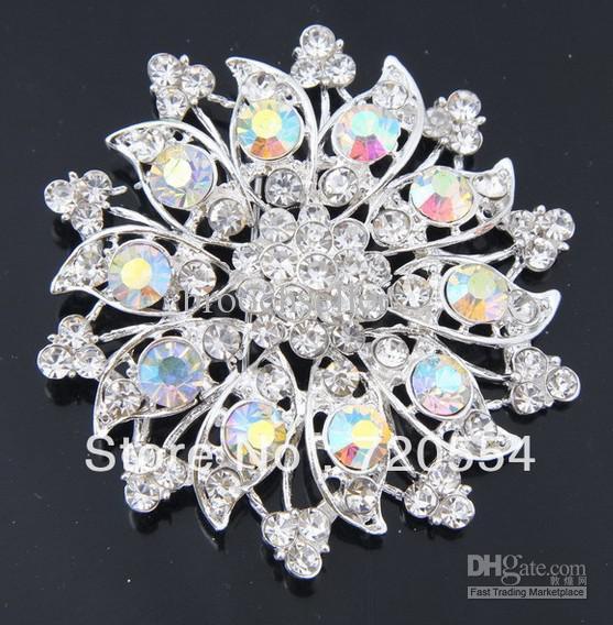 Hermoso diseño de plata rodio plateado claro y AB Rhinestone Diamante boda broche de la flor