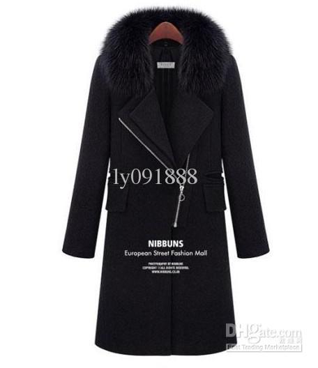Новая осень зимних женщин девушки черные шерстяные пальто отворотом дамы моды молния Тонкий длинных пальто меховой воротник Благородный Сексуальная Surcoats