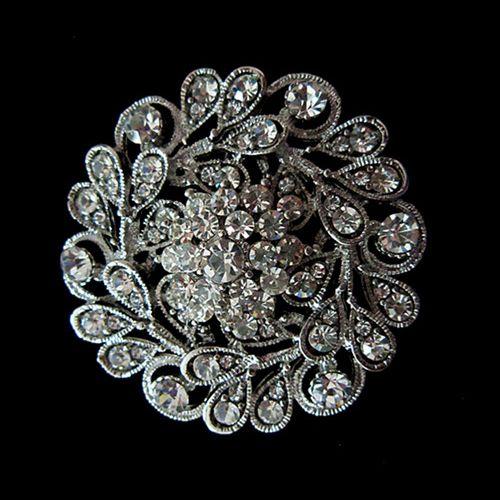 Rhodium Versilbert Klar Kristall Diamante Elegante Vintage Braut Brosche