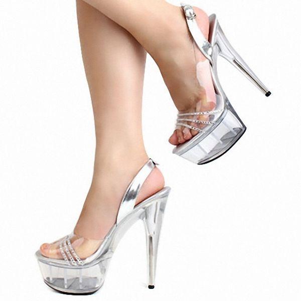 best service 016bc be52b Großhandel 6 Zoll Lady Gaga High Heels Sexy Kristall Edlen Diamantkette  Offene Spitze Sandalen Voll Transparent 15cm Schuhe Mit Hohen Absätzen Von  ...