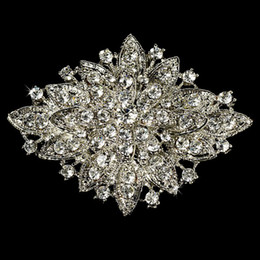 Wholesale Wholesale Crystal Brooches - Large Elegant Vintage Silver Sparkly Rhinestone Crystal Bridal Pin Brooch