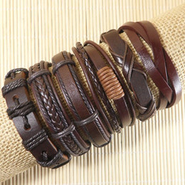 Wholesale Wholesale Woven Wraps - Wholesale 6pcs lot Handmade Weave Wrap Hemp&Genuine Multilayer Genuine Leather Bracelet with Braided Rope Fashion Jewelry Free shipping- D40