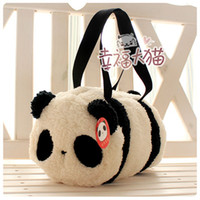 Wholesale Cylinder Pc - Free shipping holiday sale super cute panda cartoon plush baby messenger bag cylinder handbag girl kids birthday gift 1 pc a lot