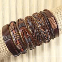 Wholesale Handmade Leather Bracelets Men - Free shipping Wholesale (6pcs lot) Handmade Weave Wrap Hemp&Genuine leather bracelet for men& for women - D51