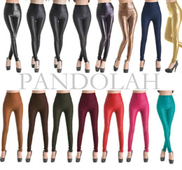 Wholesale Tights Pants Leather - Free Shipping Sexy Women Skinny Faux Leather Stretch High Waist Leggings Pants Tights 4 Size 19 Colors
