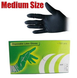 Wholesale Latex Gloves Wholesale Supplies - Sales 100Pcs BOX Black Disposable Tattoo Latex Gloves Medium Size M for Tattoo accesories supply