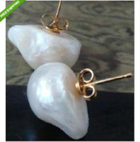 Wholesale Great Pearl Earring - Rare great baroque style 20mm south sea white pearl earrings 14 k
