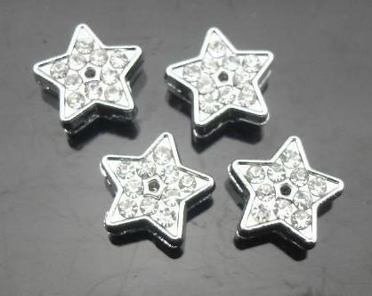100 stks / partij 8mm Rhinestones Star Slide Bedel DIY Legering Accessoires Fit voor 8mm Polsband Armband Sleutelhangers