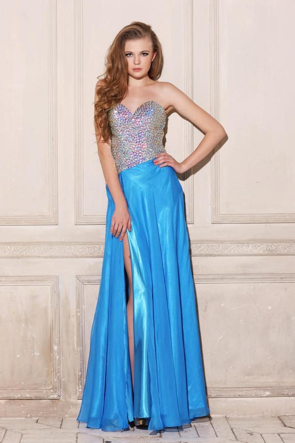 Best Selling Custom Made Rhinestone Beading Side Split Chiffon Fashion Prom Dress Evening Gown Ball Gown