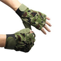 Wholesale Brown Boxing Gloves - Camouflage breathable nylon fabric anti-skidding Glove For Racing Tactical Train Airsoft Hunting Cycling Hiking Camping Gloves
