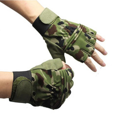 Wholesale Camouflage Gloves - Camouflage breathable nylon fabric anti-skidding Glove For Racing Tactical Train Airsoft Hunting Cycling Hiking Camping Gloves