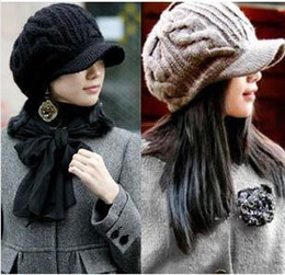 Wholesale Knitted Hats China - Low Price Trendy Lady Knitting Cap from China with Wool Made Free Shipping 0822B6