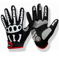 Wholesale Skeleton Table - Spakct Gloves Riding Bicycle Cycling Skiing Skeleton Full Finger Gloves Free Shipping