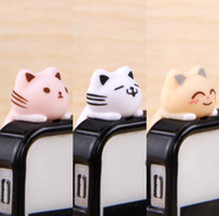 Wholesale ear plugs for cell phones - FreeShip 30pcs 3.5mm Headset 3D Cartoon Lying Cat Earphone Jack Plug With Strap Anti Dust Plug Earphone Ear Cap for Cell Phone iPhone 5 4 4S