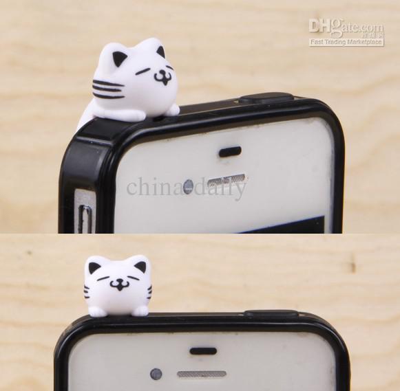 FreeShip 3.5mm Headset 3D Cartoon Lying Cat Earphone Jack Plug With Strap Anti Dust Plug Earphone Ear Cap for Cell Phone iPhone 5 4 4S