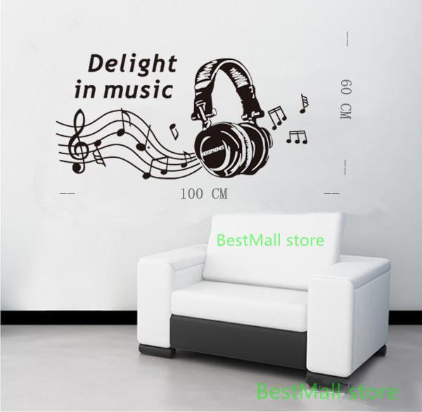 2013 new music sticker headphones wall stickers musical for Vinilos decorativos sobre musica