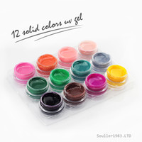 Wholesale Uv Glazes - Free Shipping New Arrival Nail Art Pure Color Glaze UV Builder Gel Acrylic Set 12 Colors Solid Color UV Gel T005