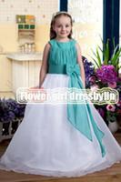 Christmas Green& White Chiffon Jewel Wedding Flower Girls...