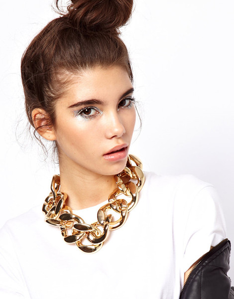 CCB Material Hot Chunky Chain Link Choker Necklace Bold Link Chunky Statement Chain Punk Jewelry Silver Gold ZY