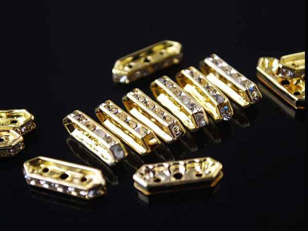 Silver Plated Rhinestone 3 Holes Spacer Bars 18 x 6 mm